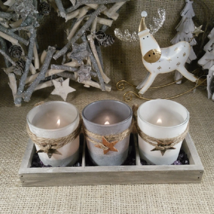 30% OFF  Frosty Glass Tealight Holders in rustic tray